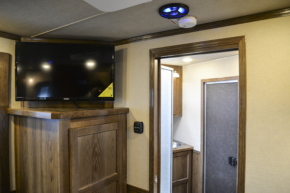Entertainment Area and LED Lighting in a SL8X9SR Laramie Horse Trailers | SMC Trailers
