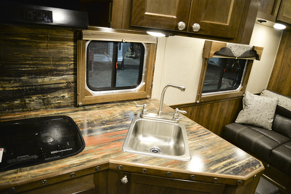 Kitchen Sink in a Laramie SL8X12SR Horse Trailer | SMC Trailers