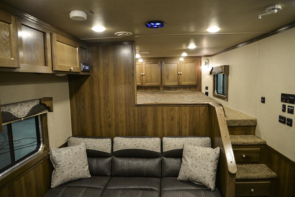 Bedroom in a Laramie SL8X12SR Horse Trailer | SMC Trailers