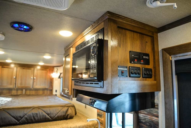 Kitchen in a Laramie SLX8FK Horse Trailer