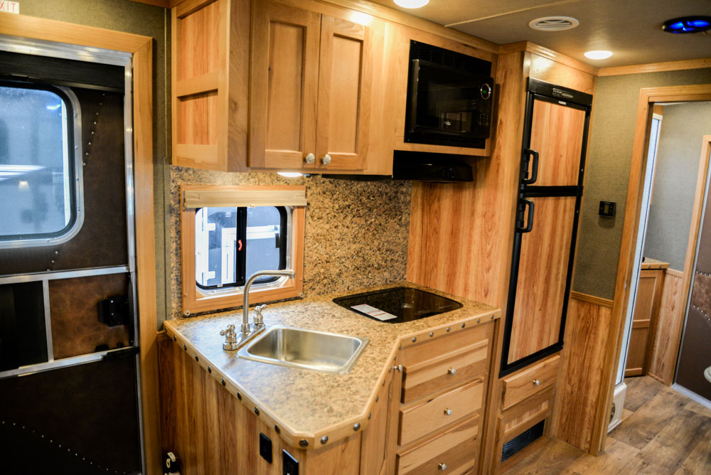 Kitchenette in a SL8X13SR Laramie Horse Trailers | SMC Trailers