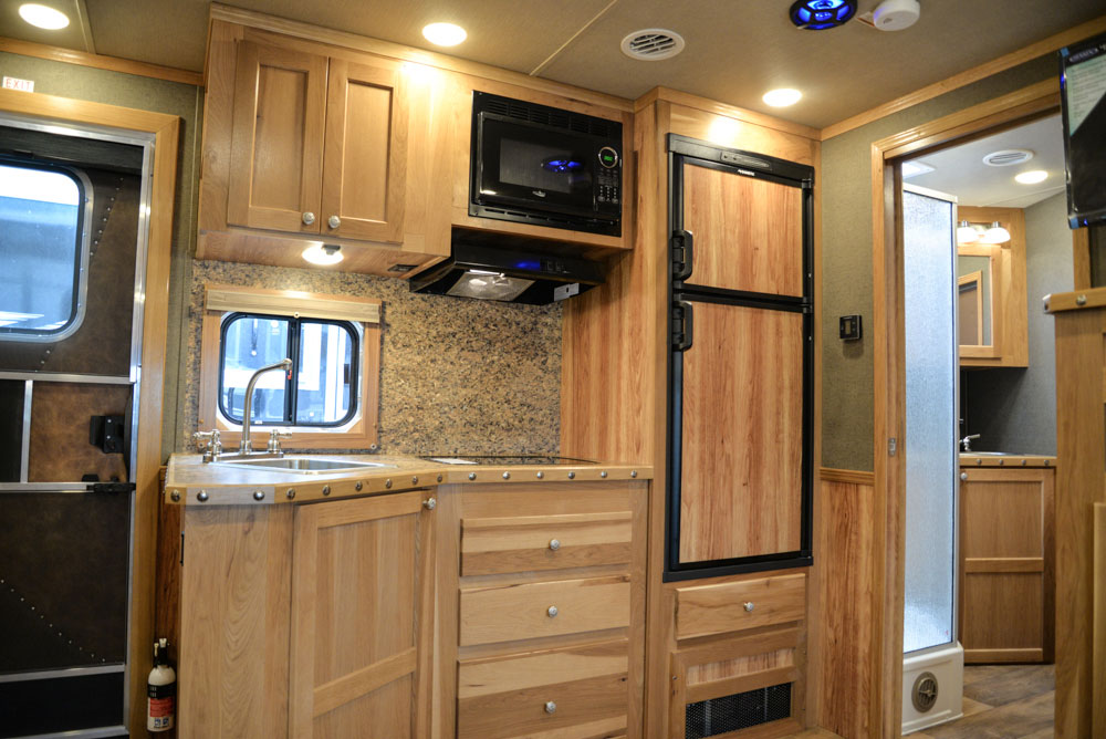 Kitchenette in a SL8X13SSR Laramie Horse Trailers | SMC Trailers