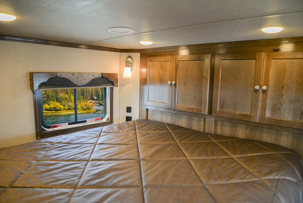 Bedroom in a Laramie SL8X18SBBSRB Horse Trailer | SMC Trailers
