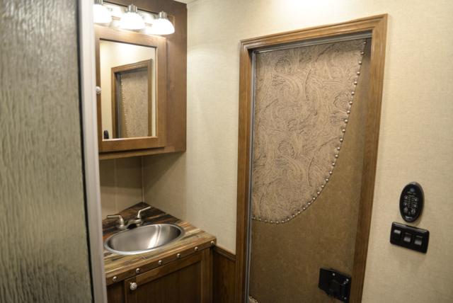 Bathroom in a SL8X13SSR Laramie Horse Trailers | SMC Trailers