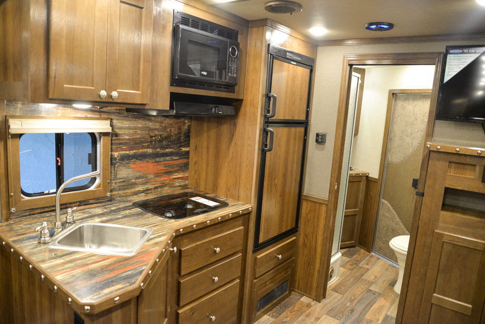 Kitchen in a SL8X13SSR Laramie Horse Trailers | SMC Trailers