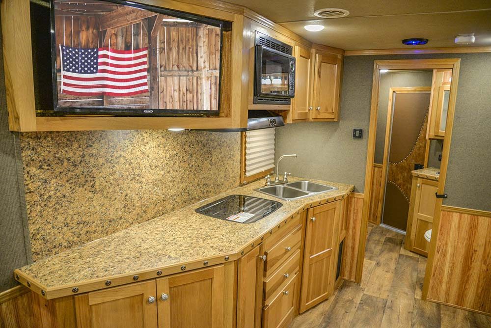 Kitchen in a Laramie SL8X16SSR Horse Trailer | SMC Trailers