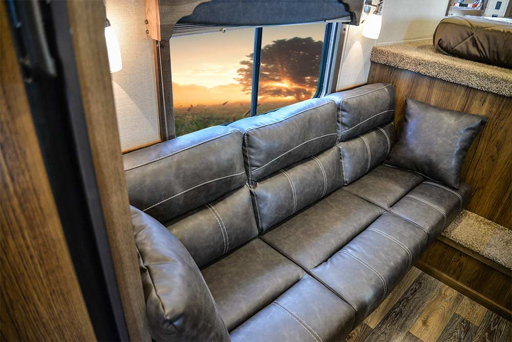 Sofa Bed in a SLX10RK Laramie Horse Trailers | SMC Trailers