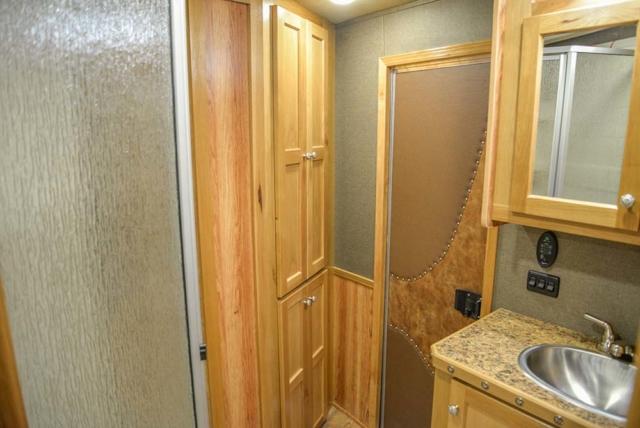 Bathroom in a Laramie SL8X16SSR Horse Trailer | SMC Trailers