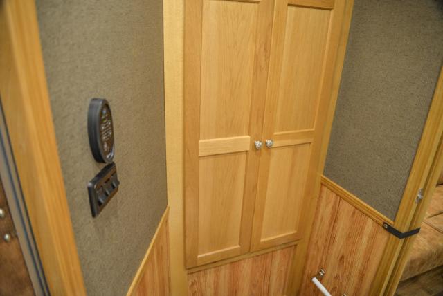 Bathroom Storage in a SL8X8FK Laramie Horse Trailers | SMC Trailers