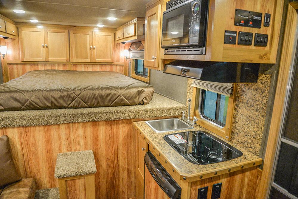 Kitchenette Area in a SL8X8FK Laramie Horse Trailers | SMC Trailers