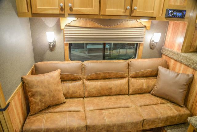 Sofa Bed in a SL8X8FK Laramie Horse Trailers | SMC Trailers