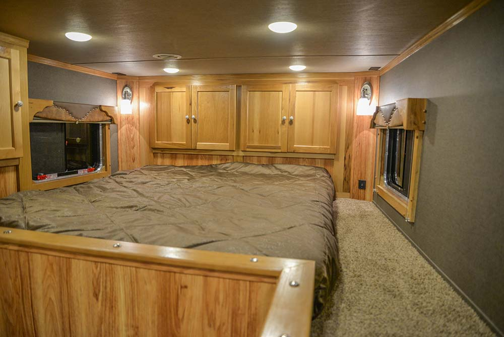 Bedroom in a Laramie SL8X16SSR Horse Trailer | SMC Trailers