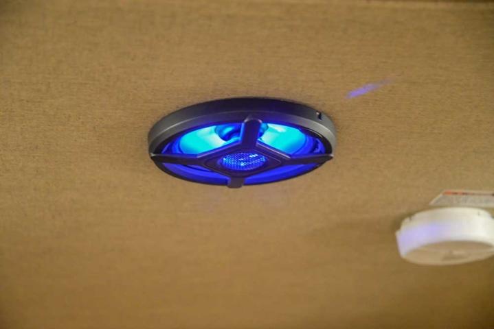 Interior LED Speaker in a Barnyard Hickory Interior in a Laramie SL8X11SFK | SMC Horse Trailers