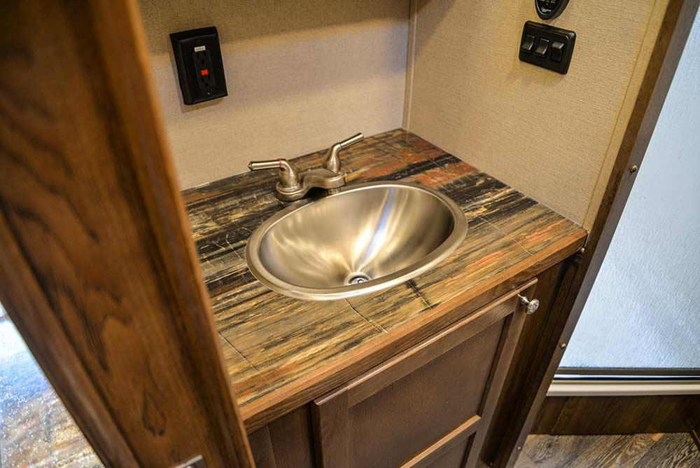 Restroom Sink in a SLX10RK Laramie Horse Trailers | SMC Trailers