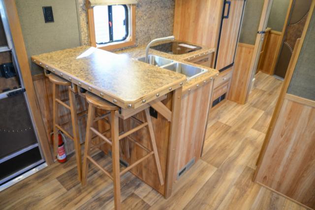 Kitchen in a SL8X16BB Laramie Horse Trailer | SMC Trailers