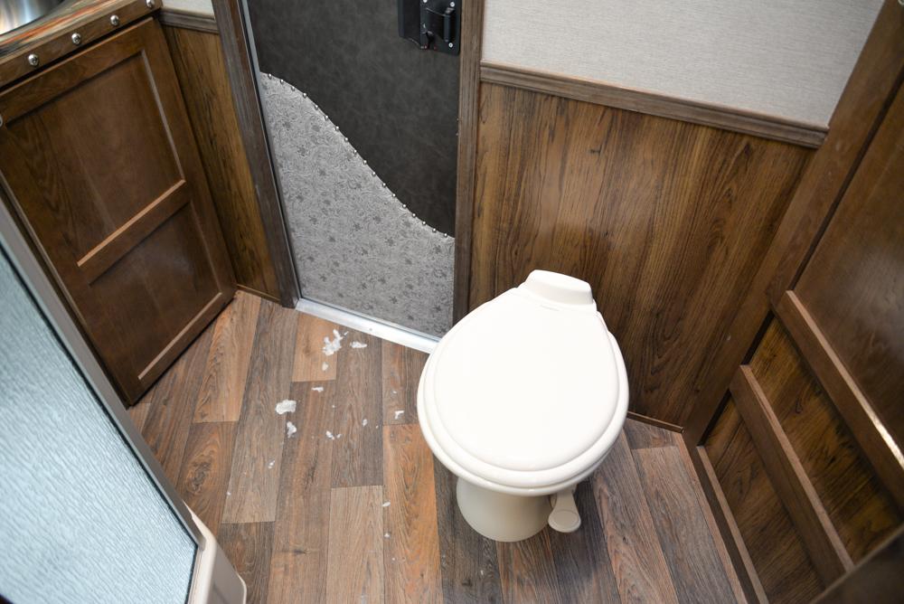 Bathroom in a SL8X14SSR Laramie Edition Horse Trailer   SMC Trailers