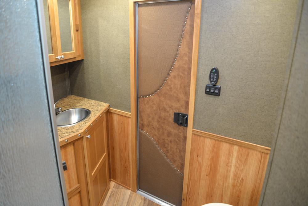 Bathroom in a SL8X16BB Laramie Horse Trailer | SMC Trailers