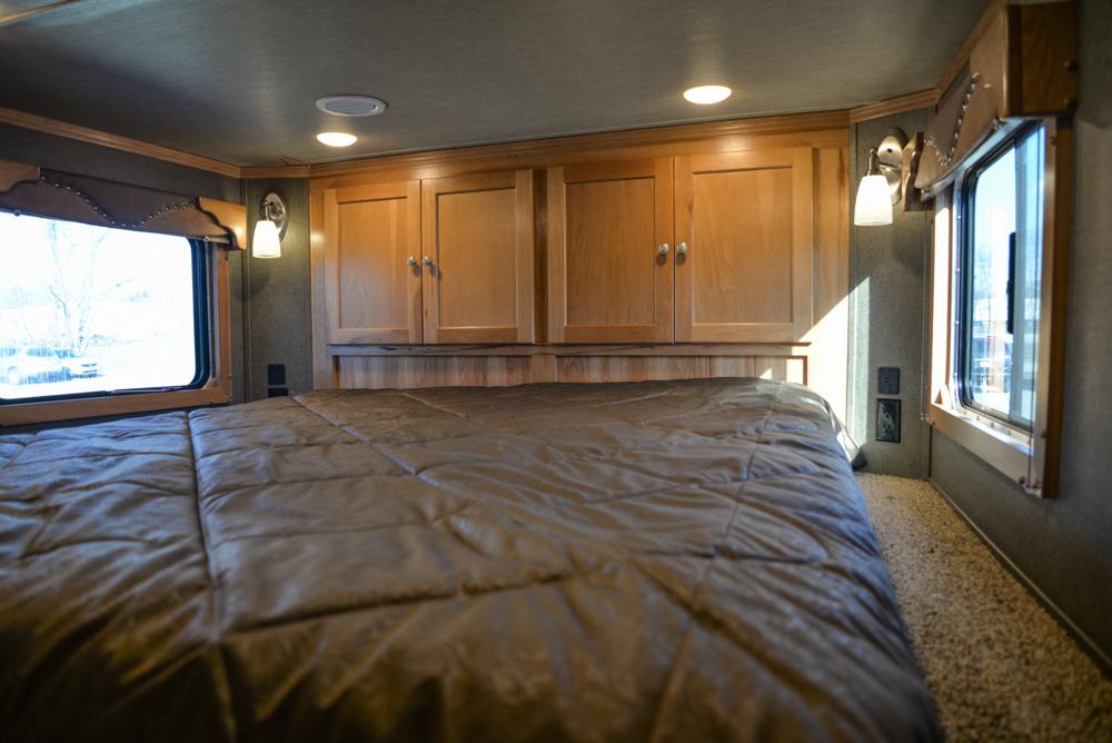 Bed in a SL8X16BB Laramie Horse Trailer | SMC Trailers