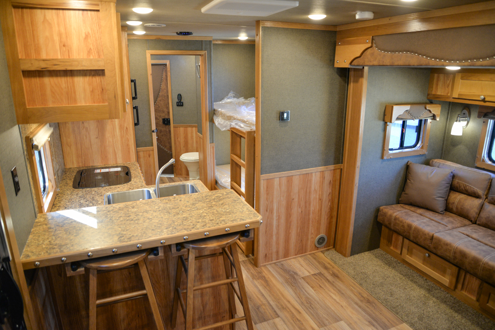 Living Quarters in a SL8X16BB Laramie Horse Trailer | SMC Trailers