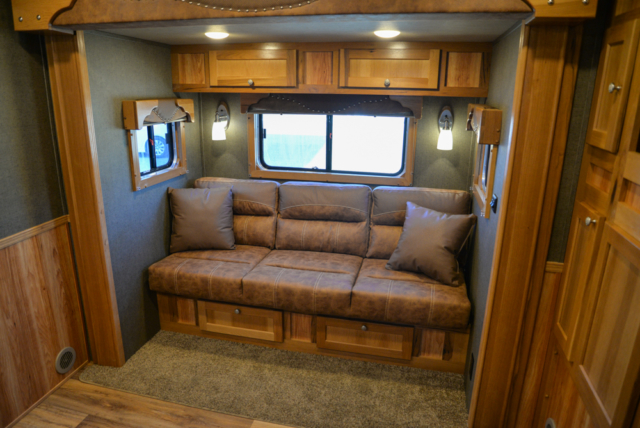 Sofa in a SL8X16BB Laramie Horse Trailer | SMC Trailers