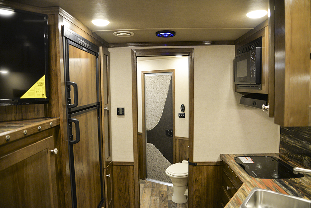 Kitchen in a Laramie SL8X12SR Horse Trailer | SMC Trailers