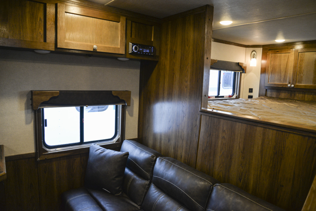 Bluetooth Radio, Bedding Area and Sofa Bed in a SL8X9SR Laramie Horse Trailers | SMC Trailers