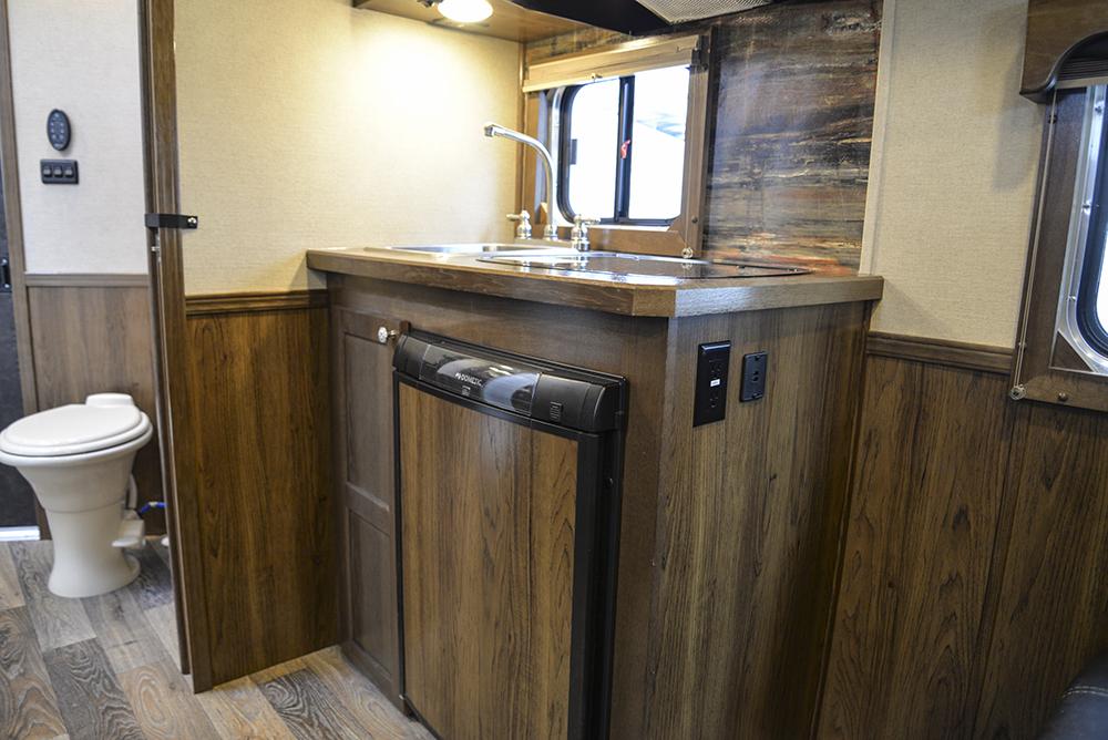 Kitchenette Area in a SL8X9SR Laramie Horse Trailers | SMC Trailers