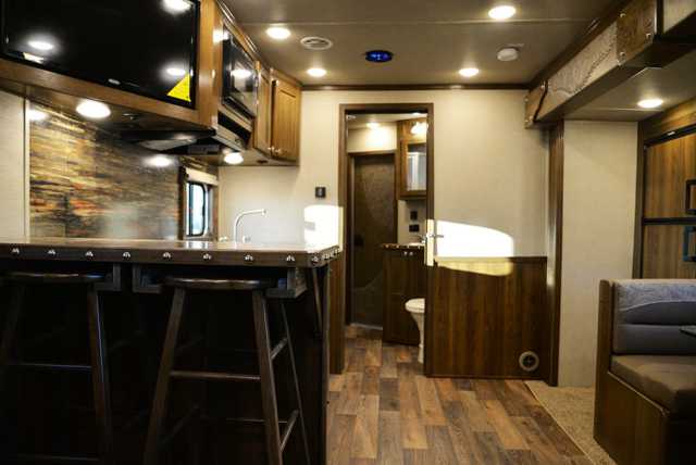 Living Area in a Laramie Livestock SLE8X16SRB | SMC Trailers