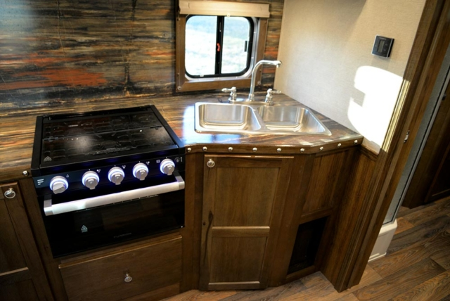 Kitchen Area in a Laramie Livestock SLE8X16SRB | SMC Trailers