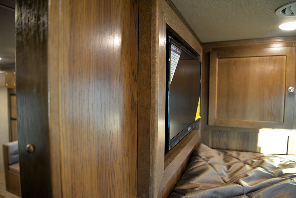 TV in Gooseneck of a Laramie Livestock SLE8X16SRB | SMC Trailers