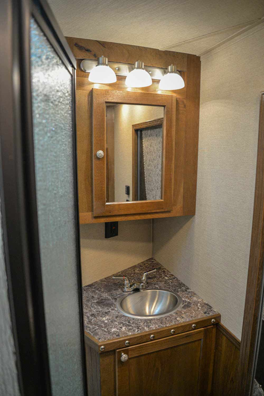 Bathroom in SL8X13SSR Laramie Edition Horse Trailer | SMC Trailers
