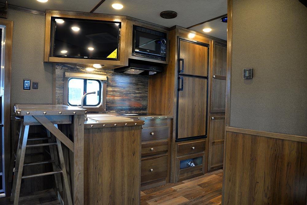 Kitchen Area in SLE8X18SBBSRB Laramie Edition Livestock Trailer | SMC Trailers