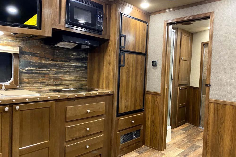 Kitchen Area in SL8X16SSR9U Laramie Edition Horse Trailer | SMC Trailers