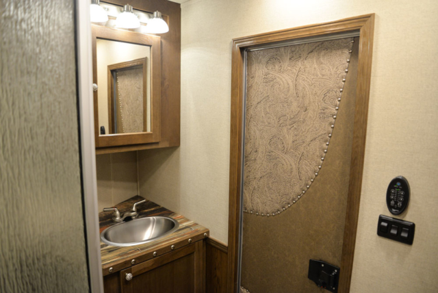 Bathroom in a SL8X13SSR Laramie Horse Trailers | SMC Trailers
