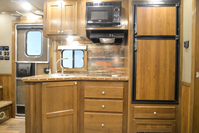 Kitchen in a SL8X13SSR Laramie Horse Trailers | SMC Trailers