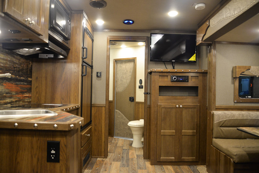 Entertainment System in a SL8X13SSR Laramie Horse Trailers | SMC Trailers