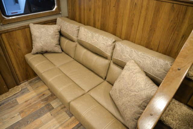 Sofa Bed in a SL8X13SSR Laramie Horse Trailers | SMC Trailers
