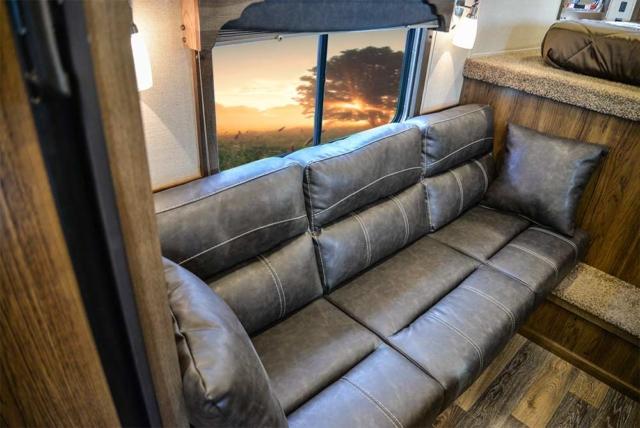 Sofa Bed in a SLX10RK Laramie Horse Trailers | SMC Trailers