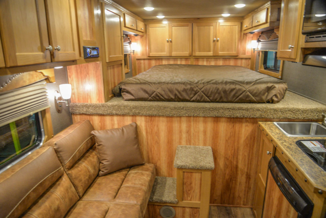 Sofa Bed, Bedding Area and Kitchenette in a SL8X8FK Laramie Horse Trailers | SMC Trailers