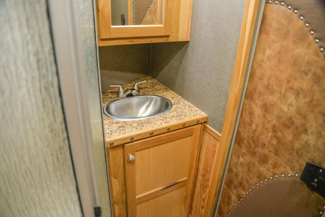 Bathroom Vanity and Detail in a SL8X8FK Laramie Horse Trailers | SMC Trailers
