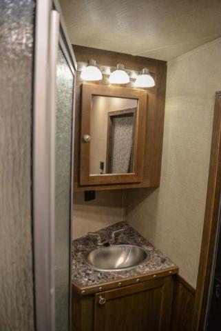 Bathroom Area in Laramie Livestock SLE8X14SSR | SMC Trailers
