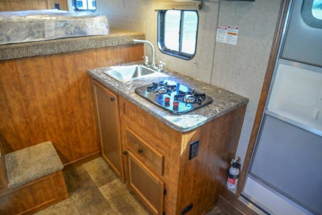Kitchen in a SP8X11SFK Patriot Edition Horse Trailer | SMC Trailers