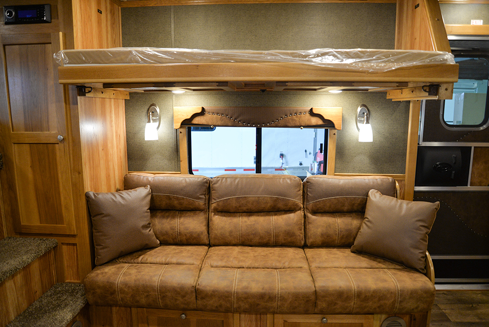 Optional flip-down bunk bed in Laramie Livestock SLE8X15DSRK | SMC Trailers