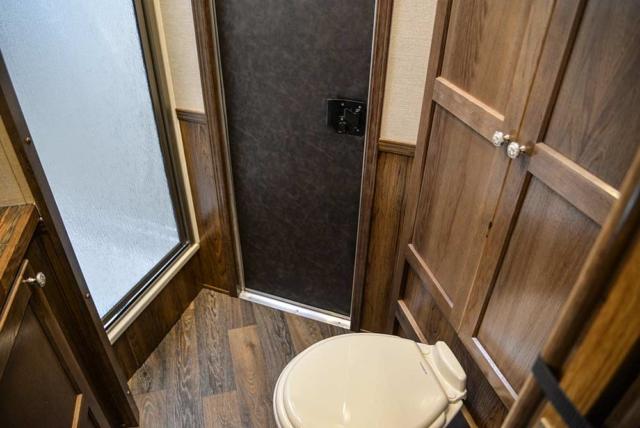 Restroom in a SLX10RK Laramie Horse Trailers | SMC Trailers
