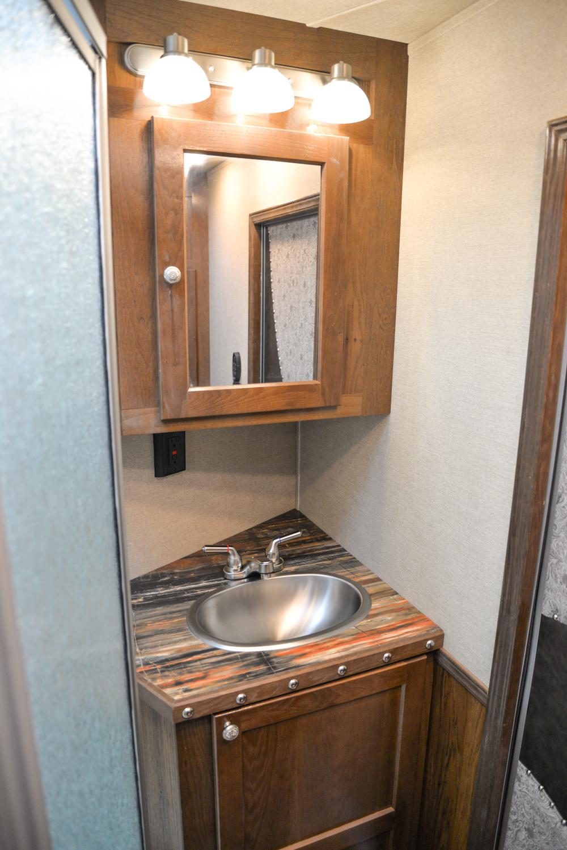 Bathroom in a SL8X14SSR Laramie Edition Horse Trailer | SMC Trailers